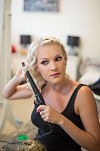 Jennifer Bailey hairstylist and makeup artist getting ready for the shoot